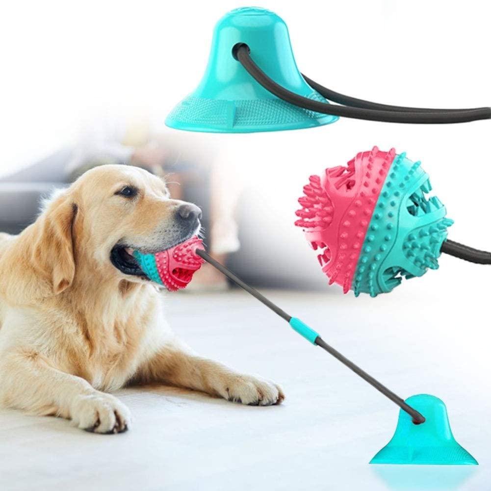 QPQEQTQ Upgrade Suction Cup Dog Toy Pet Molar Bite Toy Dog Chew Toys Interactive Dog Toys Dog Teeth Toys Tug Toy for Dogs Non-Toxic Durable Squeaky Dog Toys