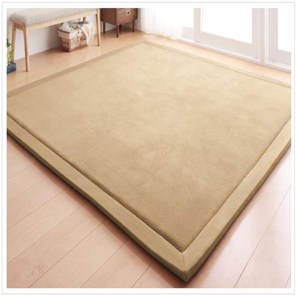 Eanpet Soft Tatami Mat 5' x 7' Area Rug Pad Non-Slip Memory Foam Carpet Large Playmats for Kids Crawling Mat Anti-Skid Doormats Living Room Bedroom Mat Women Gym Mat Natural Brown