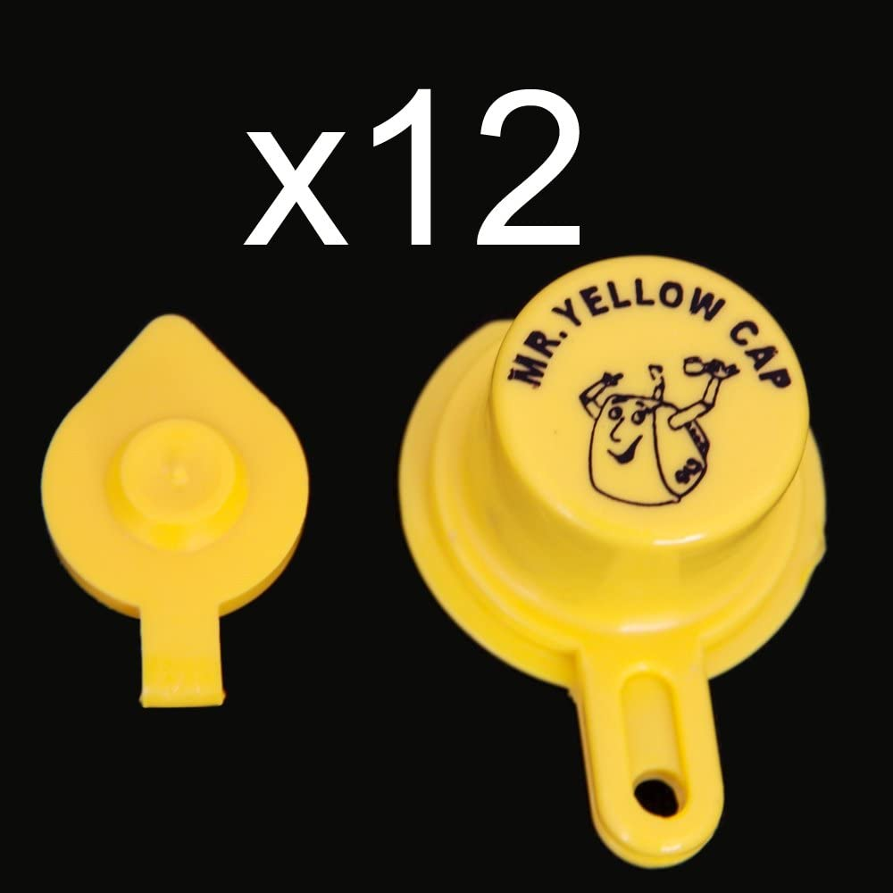 Yellow Gas Can Cap That Fits Your Vintage Blitz Spout - 12 Single Caps & 12 Vents