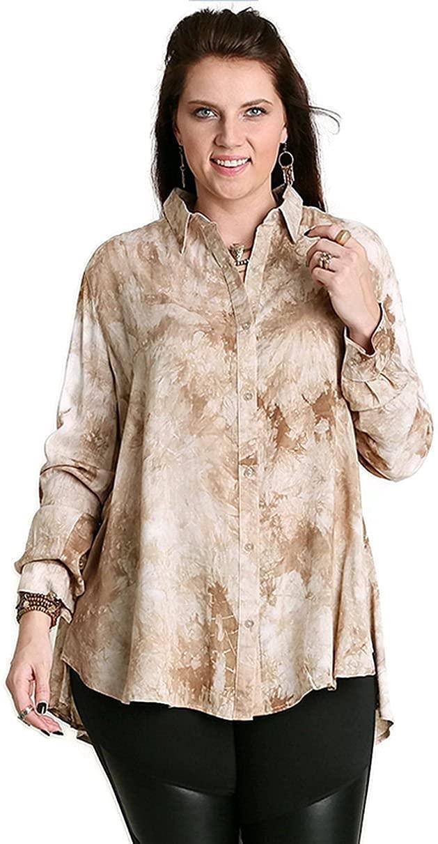 Umgee USA Womens Button Up Mocha Tie Dye Tunic Plus Size