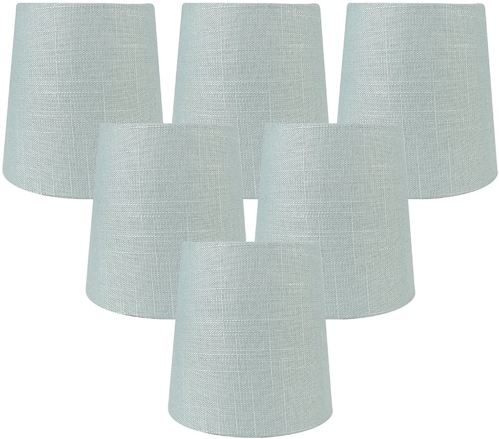 Meriville Set of 6 Capri Linen Clip On Chandelier Lamp Shades, 4-inch by 5-inch by 5-inch
