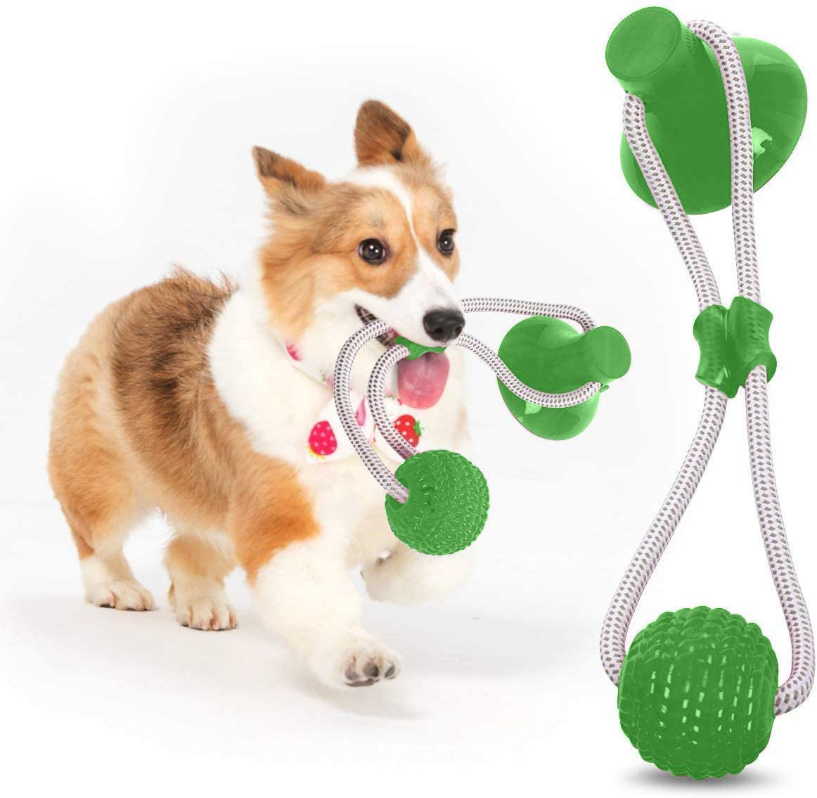 Radorock Pet Self-Playing Rubber Ball Toy with Suction Cup, Dog Rope Toy Interactive Molar Chew Rubber Toy, Toothbrush Puppy Dental Care Accessory