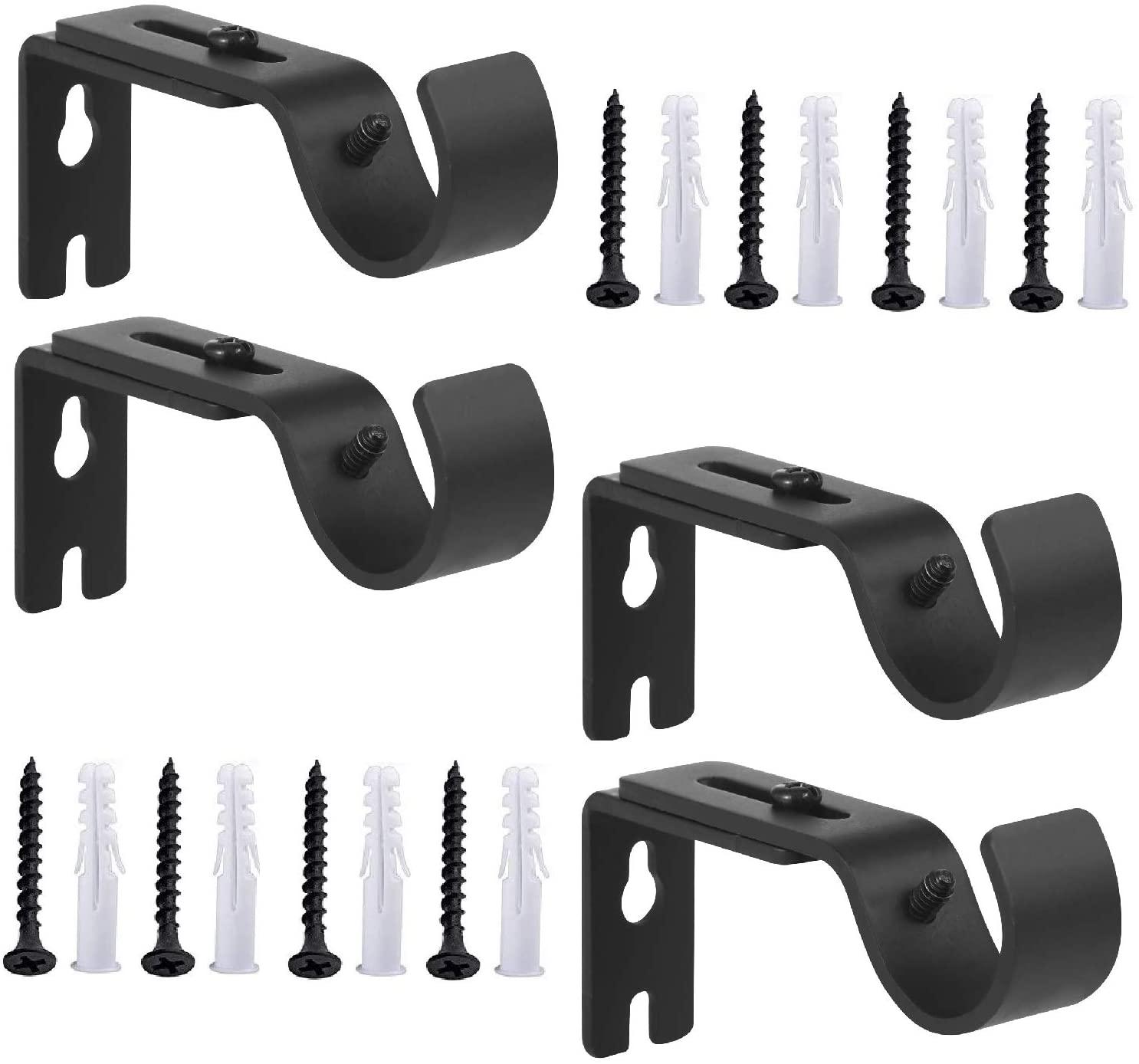 Anndason Heavy Duty Adjustable Curtain Rod Brackets Rod Holders for 1 Inch Rod, Black Color, (Set of 4,Black)