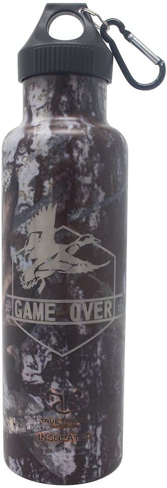 Game Over Duck Hunt - Laser Engraved 21 oz Camouflage Ultimate Sport Bottles. Best Insulated Water Bottle. NO Leak or Sweat. Cold 24 Hrs Hot 12 Hrs. Perfect for Hiking Hunting Fishing Paintball