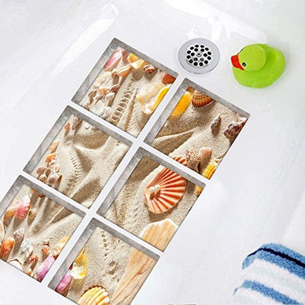 ChezMax Beach Pattern Bath Treads Sticker New Stickers Safety Non Slip Bath Tub Tattoos Tub Stickers Tub Decals Tub Appliques 6 Pcs 5.9 X 5.9