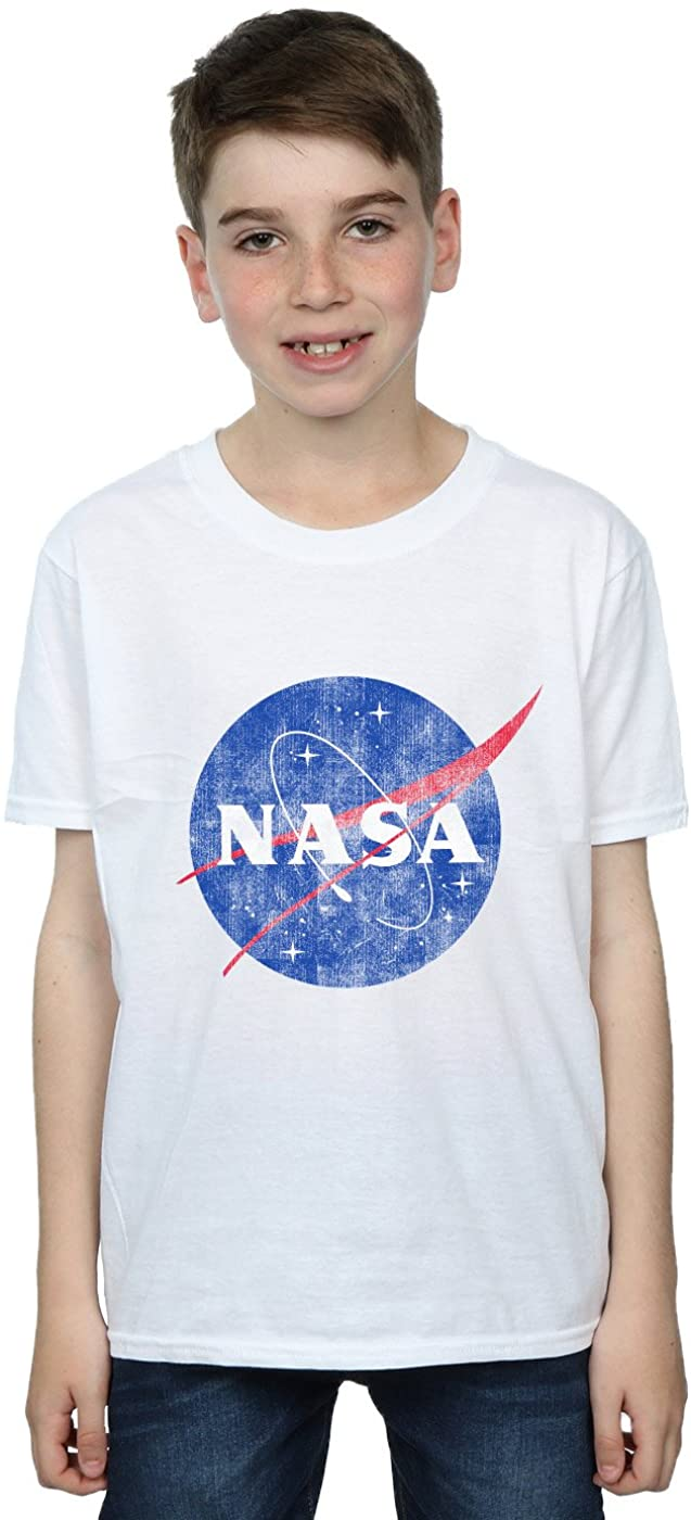 NASA Boys Classic Insignia Logo Distressed T-Shirt White 7-8 Years