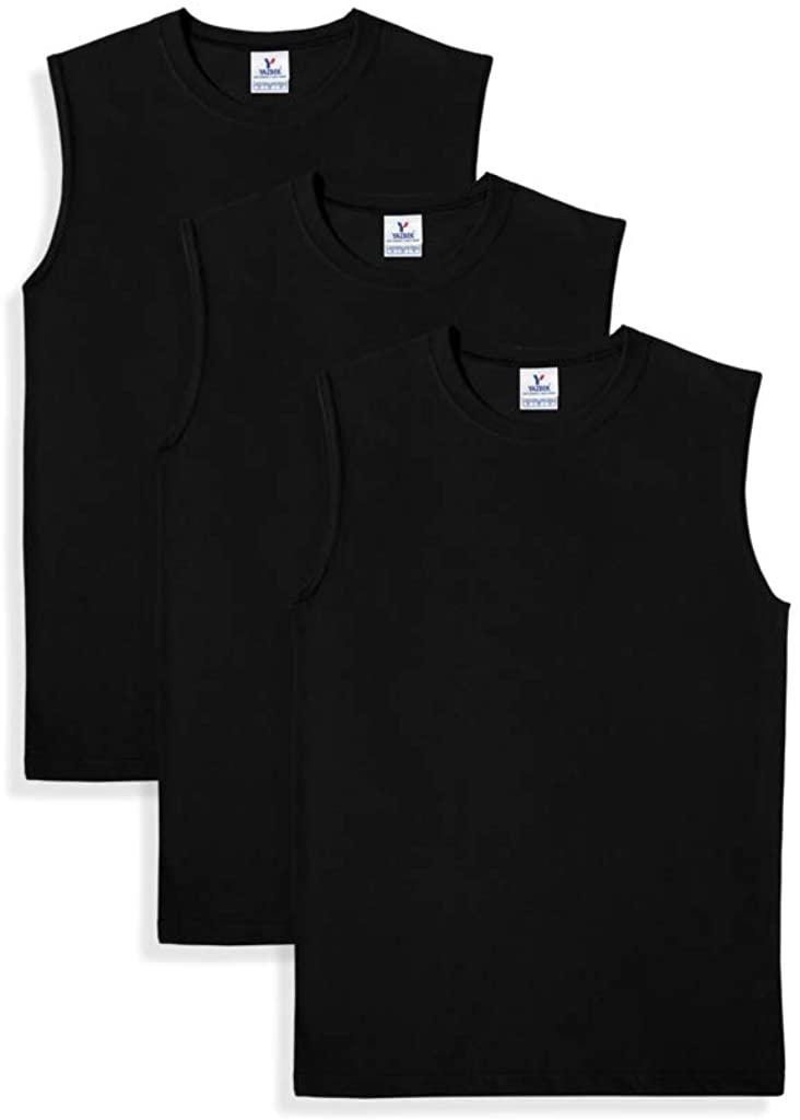 Yazbek Men's Heavy Weight (5.9-Ounce) Crew Neck Sleeveless Muscle T-Shirt (3-Pack) (Black, Small)