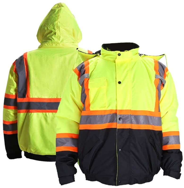 FONIRRA High Visibility Safety Bomber Jacket for Men with Quilted Lining, ANSI Class 3 Winter Waterproof Work Jacket Hoodie with Black Bottom(Yellow,S)