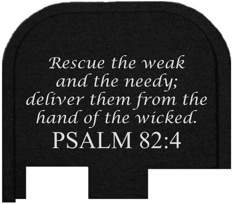 BASTION Laser Engraved Butt Plate, Rear Slide Cover Back Plate for Glock G43, G43X, and G48 9mm ONLY - Psalm 82:4