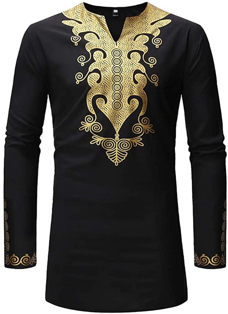 lexiart Men's African Bronzing Dashiki Blouse Dashiki Fashion Print Long Sleeves Loose Fit Shirts