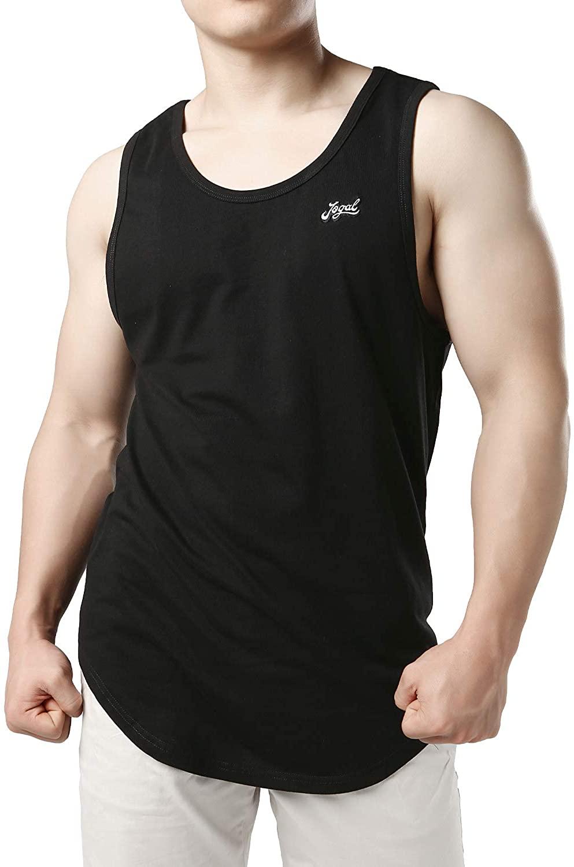 JOGAL Tank Top for Men Long Length Curved Hem Muscle Shirts