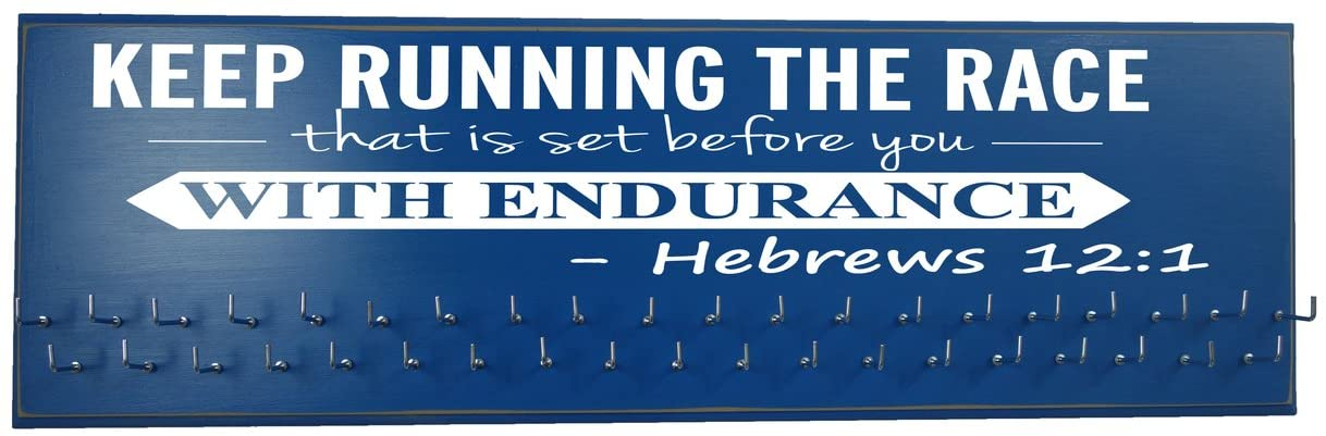 Running On The Wall-Gifts for Runners-Marathon Medal Display-Medal Rack for Running- Awards Hanger - Wall Mounted Holder-Keep Running The Race…Hebrews 12:1