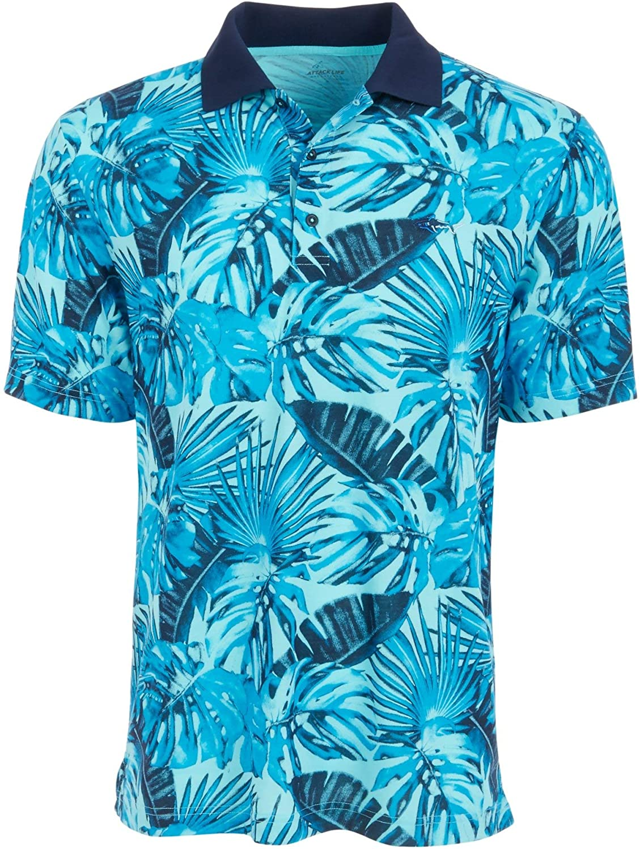 Greg Norman Mens Printed Polo Casual Shirt Blue L