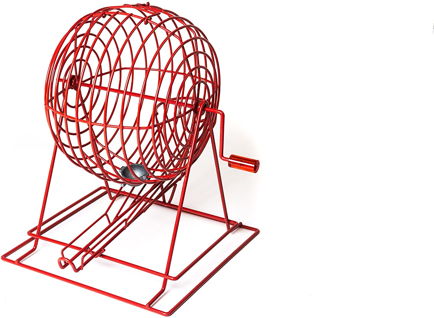 MR CHIPS Professional Bingo Cage - CAGE ONLY - Red Powder Coated - Extra Large - 19 High - Holds 75 Ping Pong Style Bingo Balls