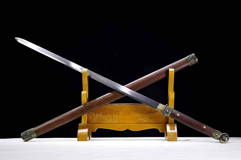 Chinese Sword,Han jian,Handmade Damascus Steel Blade,Rosewood,Kirsite,Full Tang