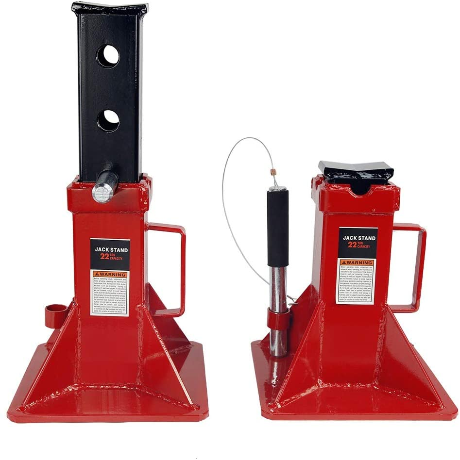 Stark 22-Ton Capacity Jack Stands Pin Style Lock Adjustable Height, Set of 2 - Pair