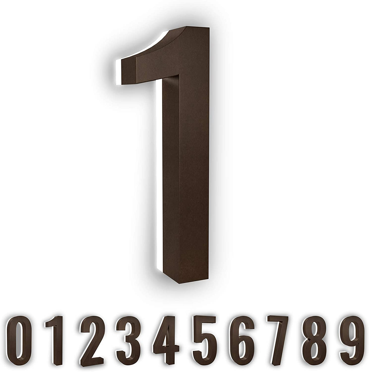 LN LUMANUMBERS Low-Voltage Backlit LED Address Numbers, Durable Painted Steel Lighted House Numbers, 5-inch, Weather-Proof, Modern Illuminated Floating Numbers (Bronze, 1)