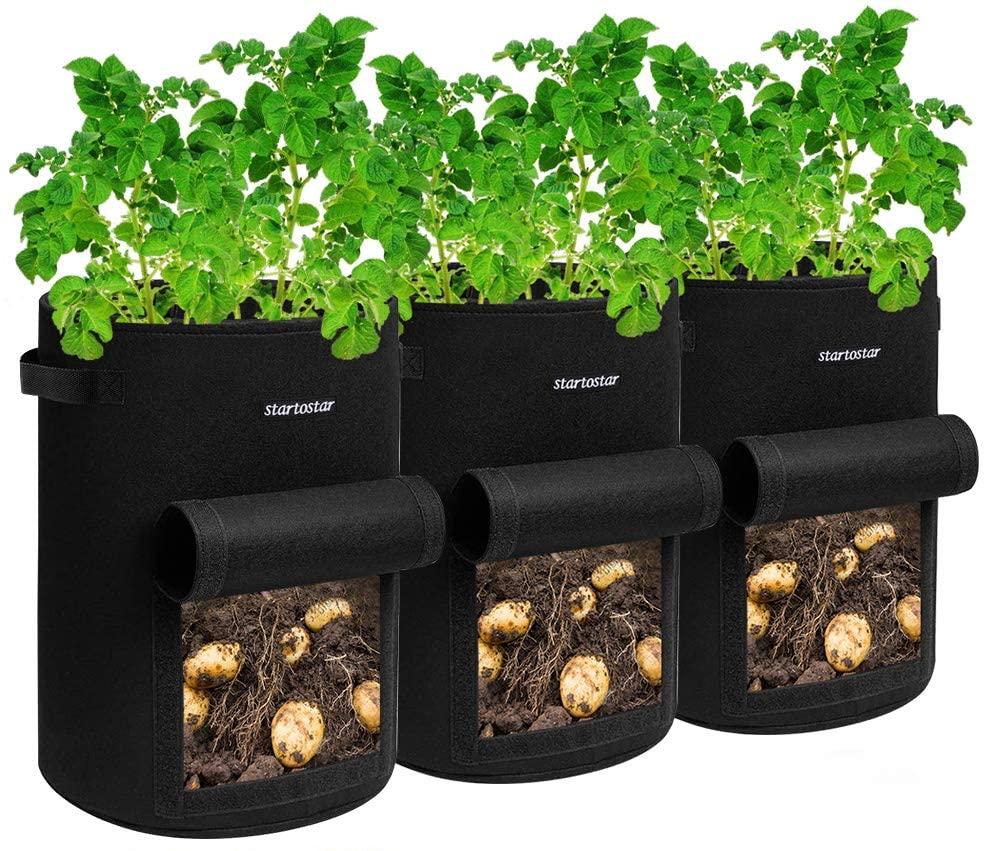 STARTOSTAR Grow Bags 7 Gallon ,3 -Pack Potato Grow Bags,Garden Vegetable Planter Pot,Planting Bags Reusable Heavy Duty Thickened Non-Woven Plant Fabric Pots for Tomato, Strawberry, Carrots, Onions