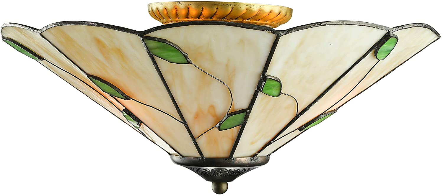 RUNNUP Tiffany Style Flush Mount Ceiling Light Minimalist Green Leaf Decoration Stained Glass Ceiling Light for Living Room,Corridor,Bedroom,Restaurant 15inch