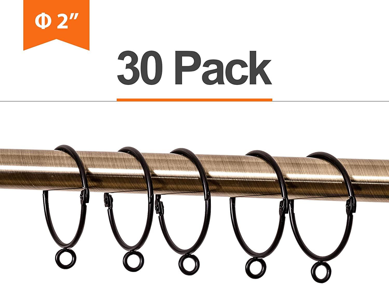 LULARINE 2 Inches Curtain Rings, Metal Curtain Drape Eyelet Rings, 30PCS (Black)