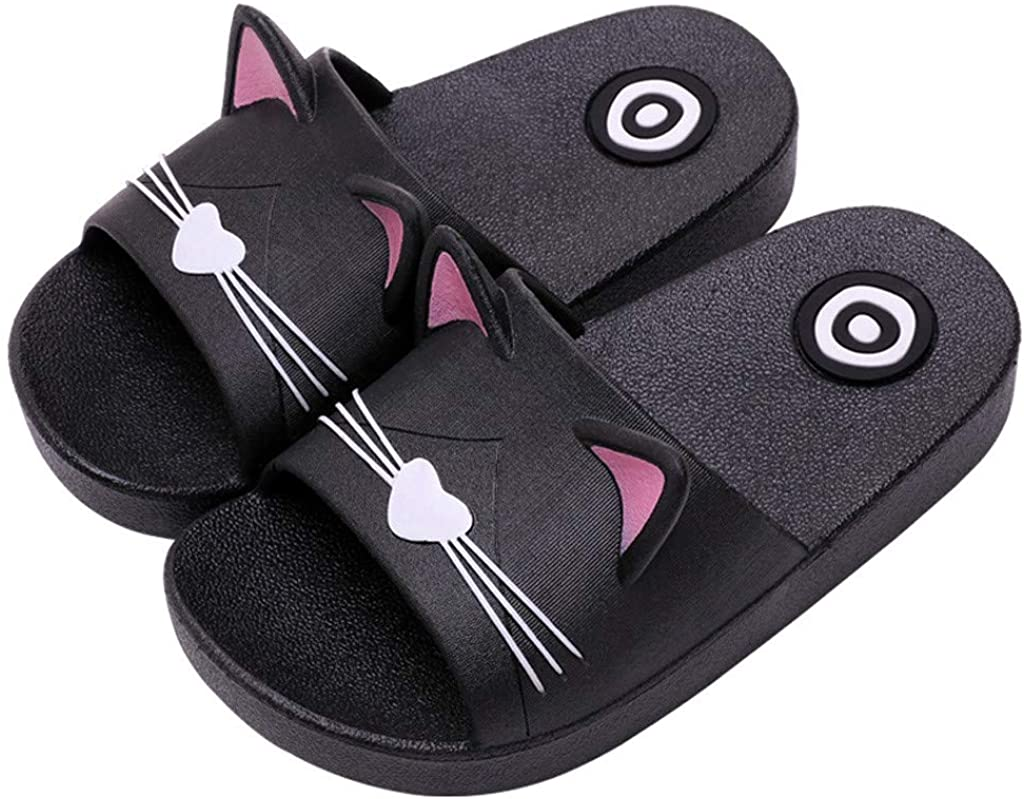Baby Slippers - Baby Girls Boys Home Soft Slippers Kids Cartoon Cat Floor Family Shoes Beach Sandals Summer (Size(CN):33-34, Black)