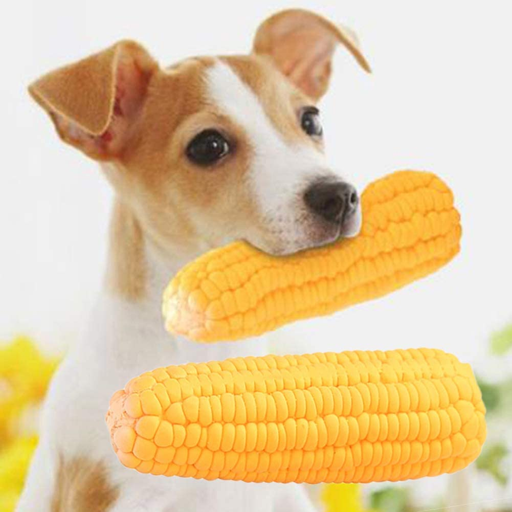 hbz11hl Interactive Pet Toys丨Pet Dog Puppy Latex Corn Shape Squeaky Bite-Resistant Interactive Play Chew Toy丨The Best Entertainment Exercise Gift for Your pet丨100% Pet Safety Corn