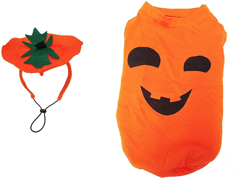 Midlee Large Dog Pumpkin Face Shirt & Headband Costume