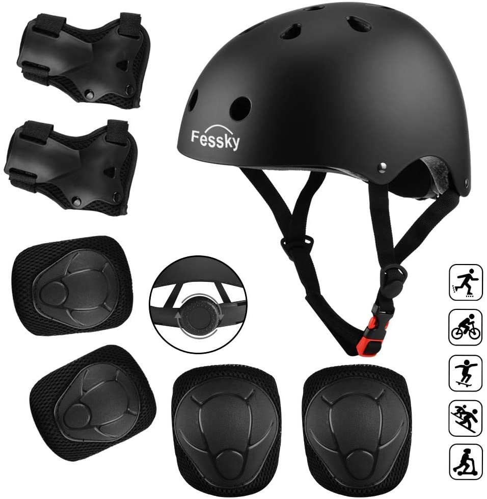 FESSKY Kids Bike Helmet Pad Set, 7 in 1 Protective Gear Adjustable Strap Knee Pads and Elbow Pads with Wrist Guard for Skating Cycling Rollerblading Scooter