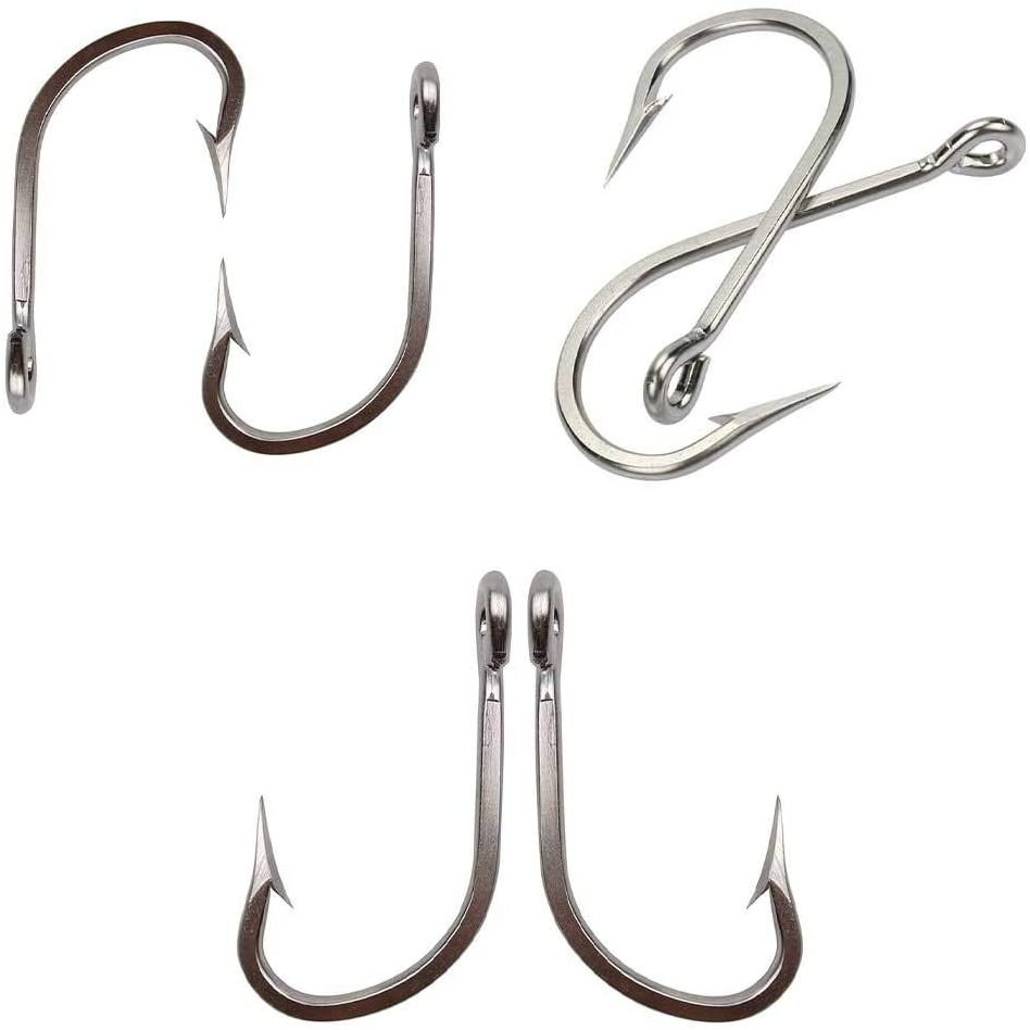 DIYARTS Stainless Steel Fishing Hook Hand Polished Fish Hook Tip Long Hook Design Super Large Shark Fishing Hooks Quenching Process Special Surface Treatment Fishing Hook
