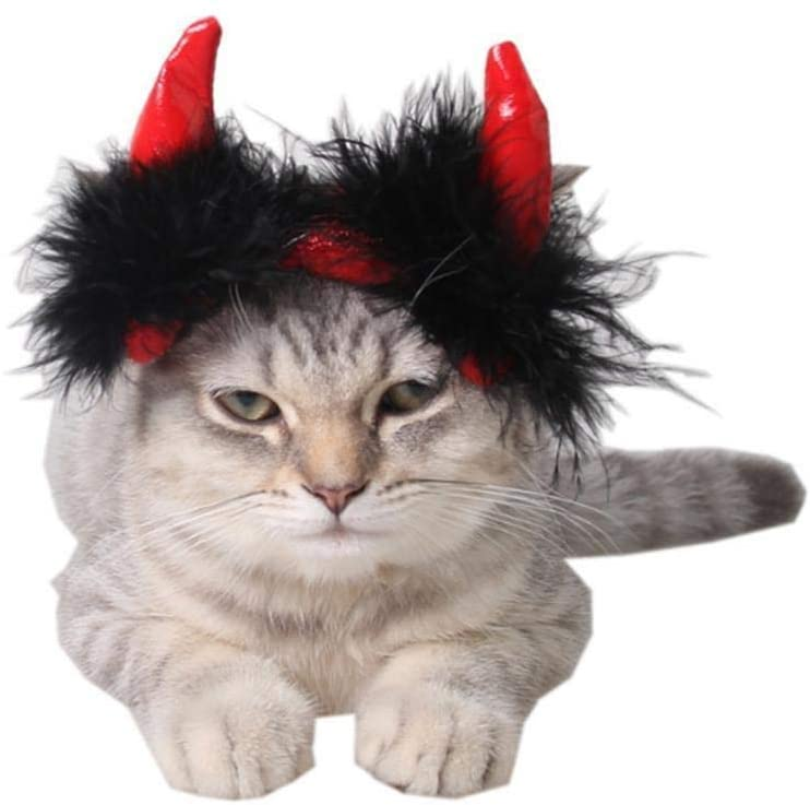 HXINFU Cute Pet Halloween Costumes Black/Red Devil Horn Headband for Dogs Cats