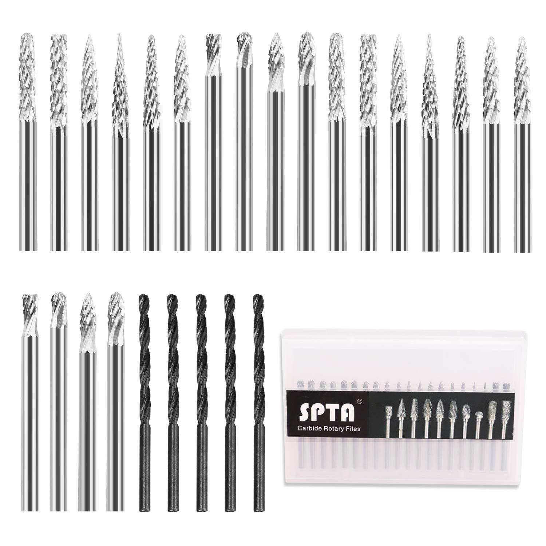 SPTA 20pcs Solid Carbide Burr Set 1/8
