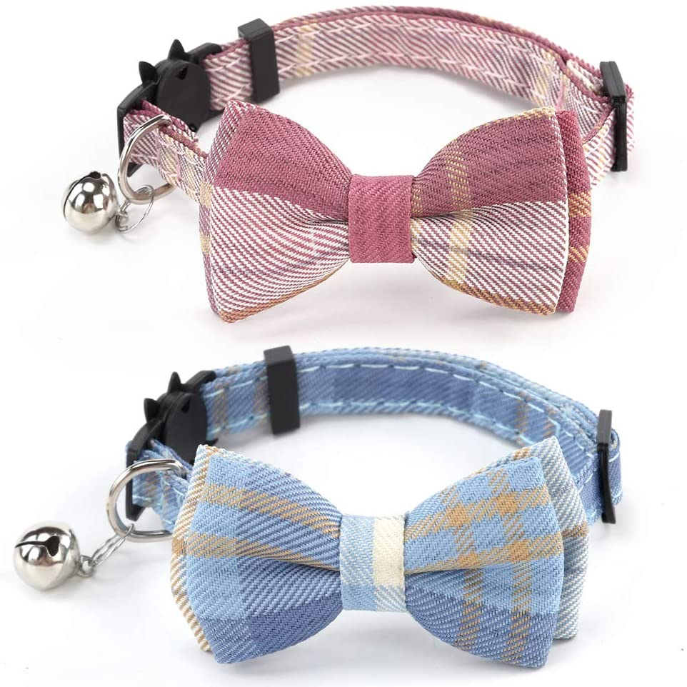2 Pack/Set Cat Collar Breakaway with Cute Bow Tie and Bell for Kitty and Some Puppies, Adjustable from 7.8-10.5 Inch