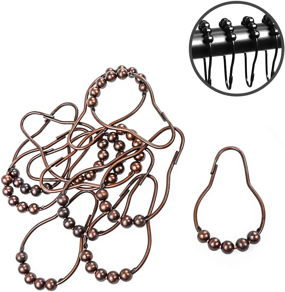 Yootop 12 Pcs Stainless Steel Ball Ring Hooks for Bathroom Shower Curtain Rod Bronze
