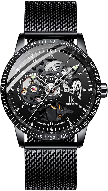 Erbida Mens Watch Black Mesh Band- Black Skeleton Dial Design - Automatic Watches for Men