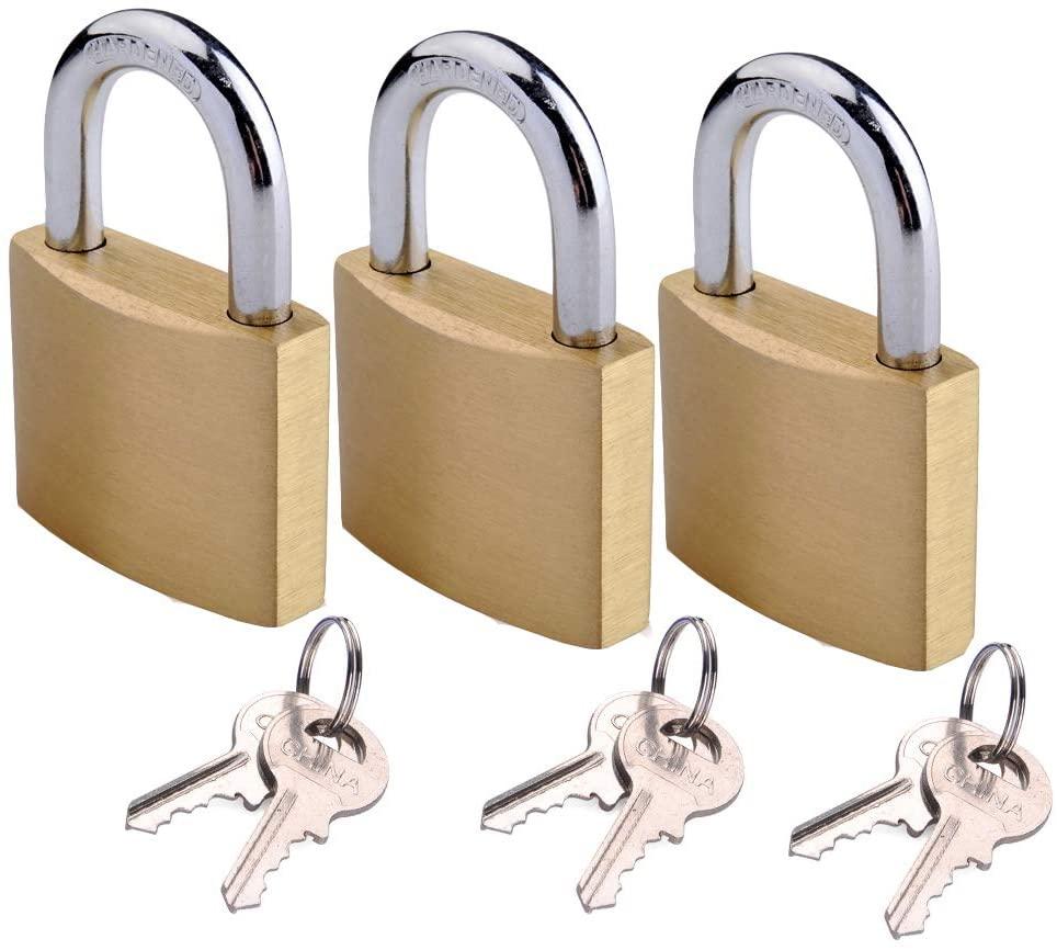 Keyed Alike Solid Brass Padock 1-9/16-inch(40mm) Pin Tumbler Padlock with 2 Steel Keys of Each Padlock 3packs