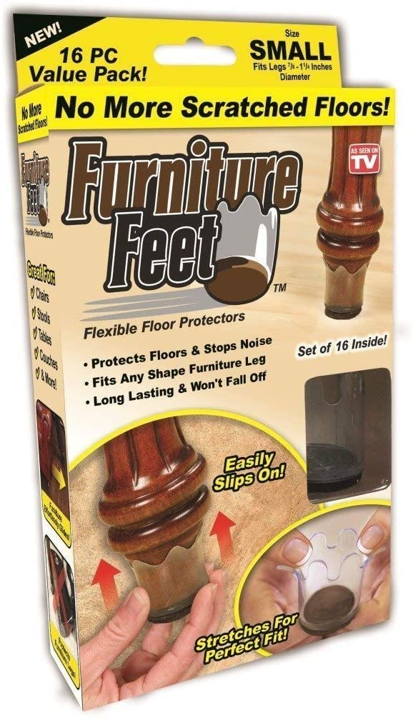 MOMSIV Furniture Feet Flexible Chair Legs Floor Protectors - Furniture Legs Protectors Clear Plastic Cups for Wood Floors Non Slip Slim Fit for Round Legs Diameter 1-1 1/4 in - Small (16 Pack)