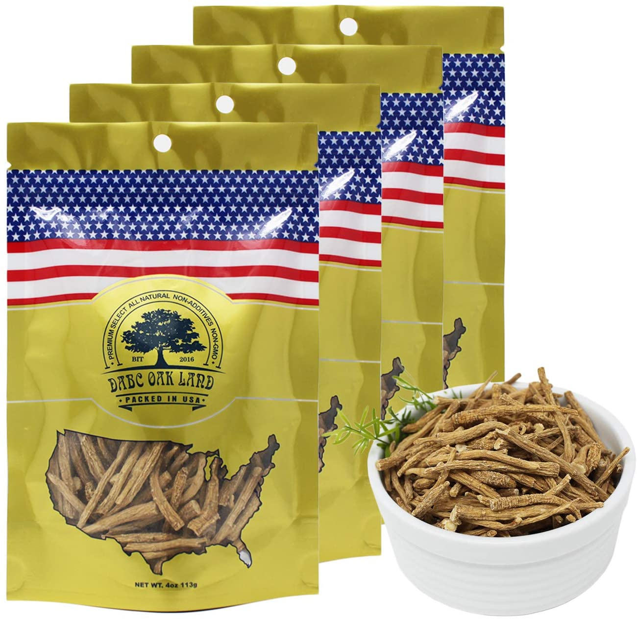 DABC OAK LAND 4OZ*4=453g/4 Bags American Ginseng Root Fiber,American Wisconsin Farmed Ginseng Root | 美国威斯康辛州西洋参须 花旗参须 促销装 | Hand-Selected Cultivated Ginseng for Tea or Powder 0158# Bag