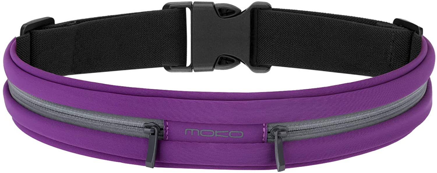 MoKo Sports Running Belt, Outdoor Dual Pouch Sweatproof Reflective Slim Waist Pack,Fitness Workout Belt Fanny Pack Compatible with iPhone 11/11 Pro Max/X/Xr/Xs Max/8/7, Galaxy Note 10/10 Plus, S20/S10