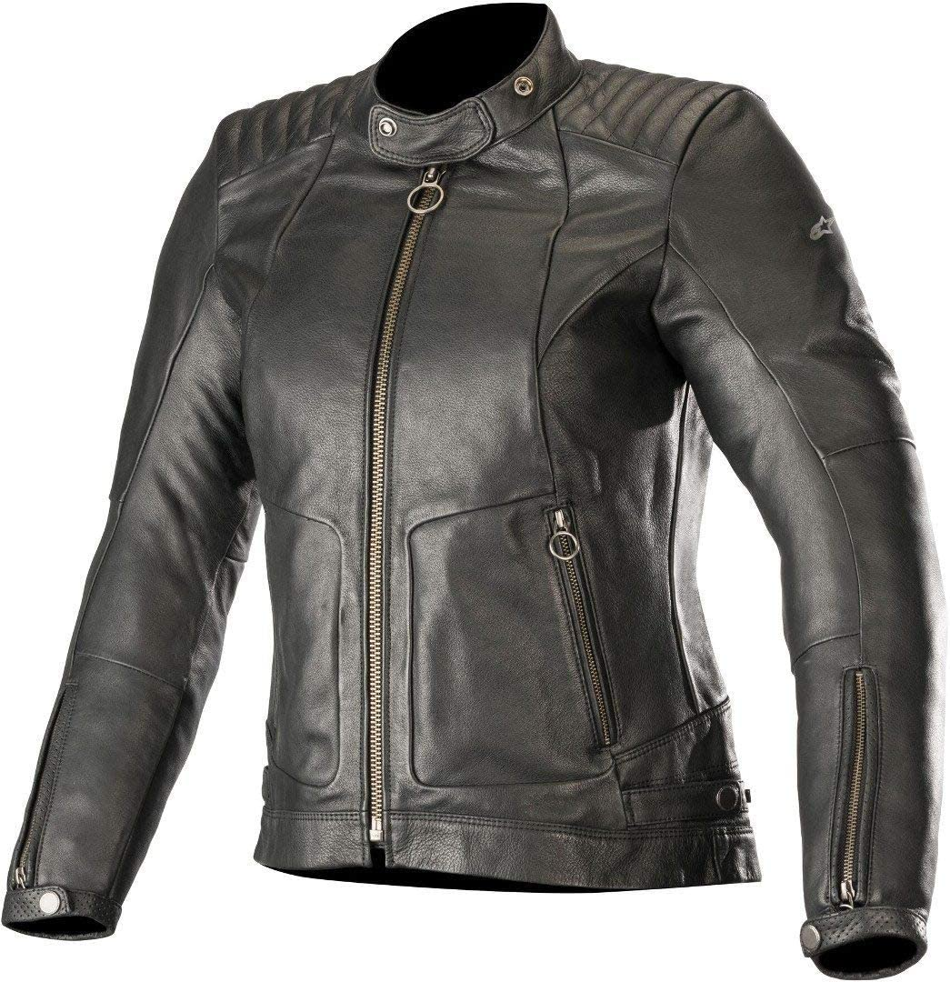 Alpinestars Women's 'Gal' Leather Motorcycle Jacket, Black, Large