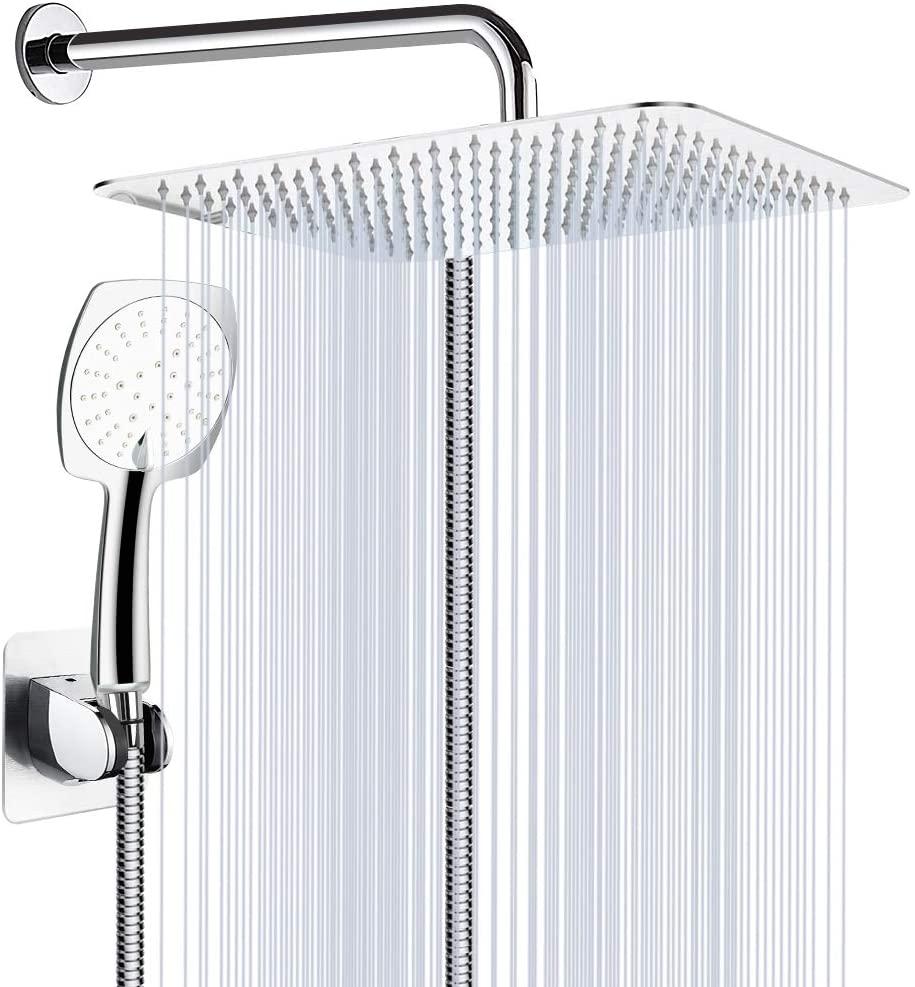 Shower Head Combo, 8'' High Pressure Rainfall Shower Head/Handheld Combo, Stainless Steel Shower Head with Holder, 60'' Hose, Anti-leak, Chrome