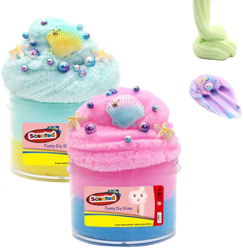 zoneway 2 Pack Scented Ocean Cloud Slime with Shells and Pearls,Super Soft and Non-Sticky Toy for Kids