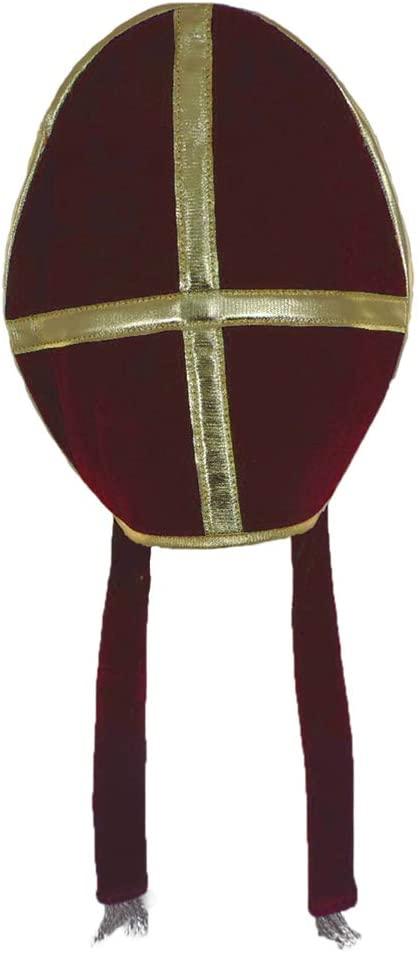 Bishop Pope Mitre Clergy Costume Prop Red Hat