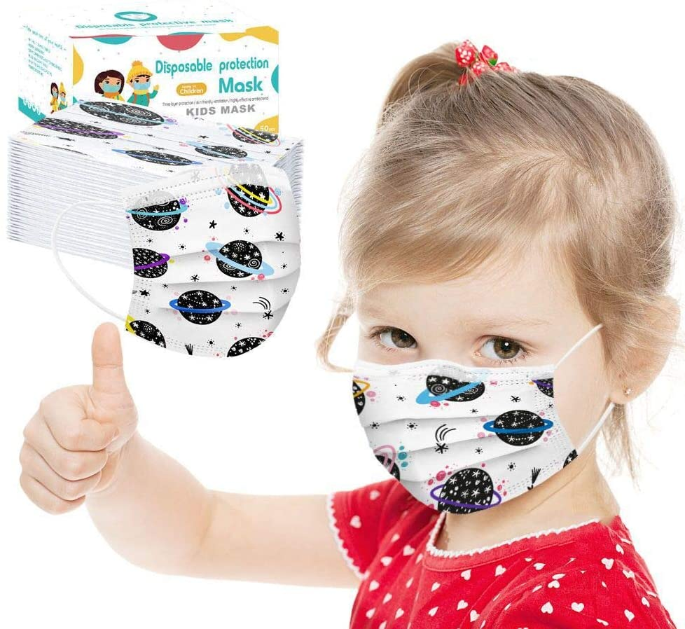 SUDDA 50 Pcs Kids Face Masks Disposable,3 Ply Non-Woven Face Cover with Cute Catoon Pattern,Anti Mouth Cover,FaceMasks Comfortable and Adjustable for Children