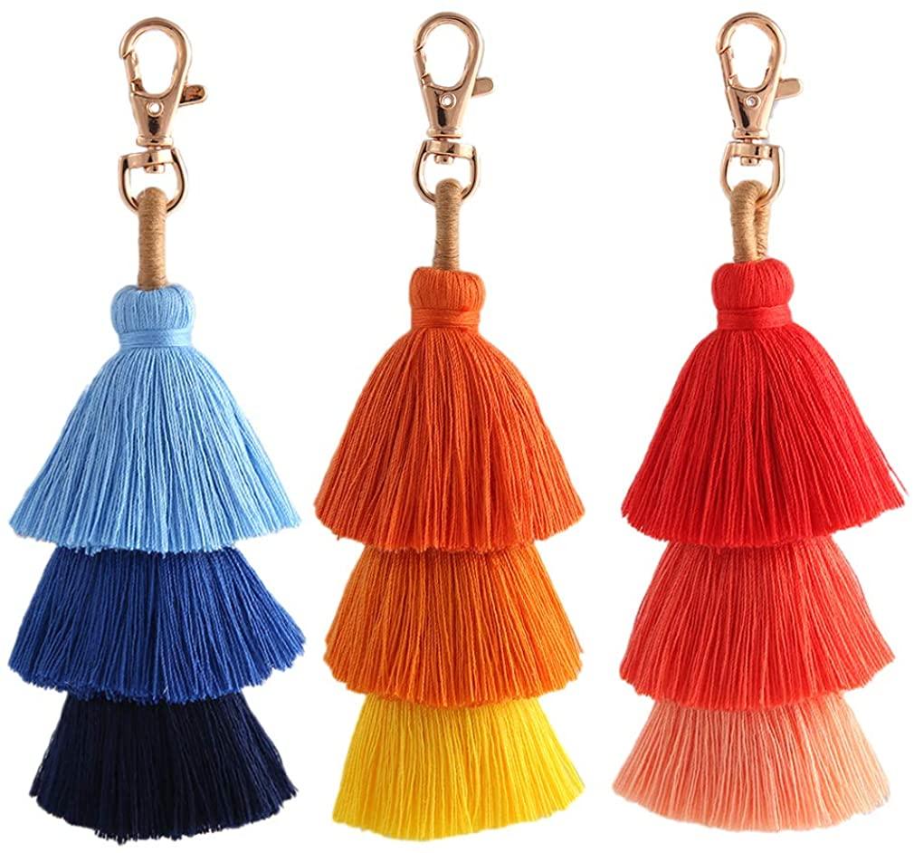 Colorful Tassel Bag Charm KeyChain - Bohemian Handmade Fringe Cute Keychains for Women, Handbag Purse Key Chain for Girls