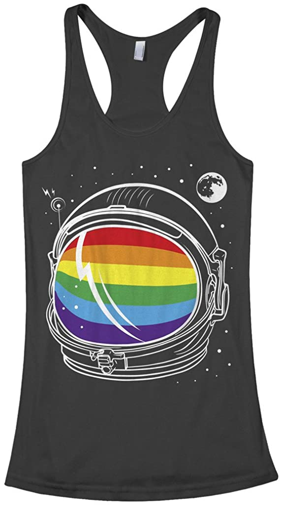 Threadrock Women's Rainbow Astronaut Racerback Tank Top