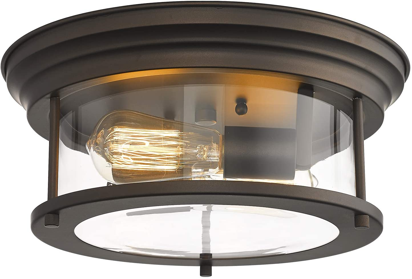 Zeyu Flush Mount Ceiling Light, 2-Light Ceiling Light Fixture 13 inch, Oil Rubbed Bronze and Clear Glass Shade, ZY15-F ORB