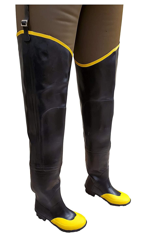 Herco Heavy Duty Rubber Steel Toe Hip Waders - Men's Size 13 (Black)