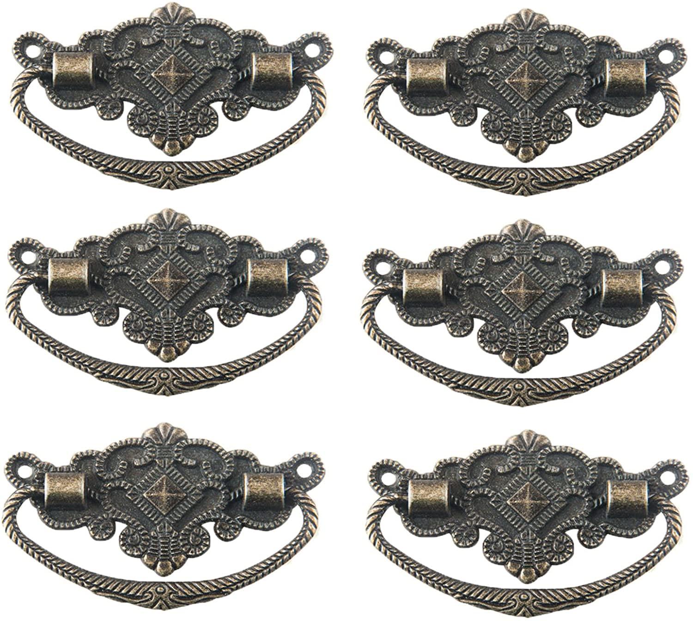 Antrader 6pcs Metal Antique Style Cabinet Drawer Wood Case Floral Rim Pull Handle Knobs Bronze Tone 2.8