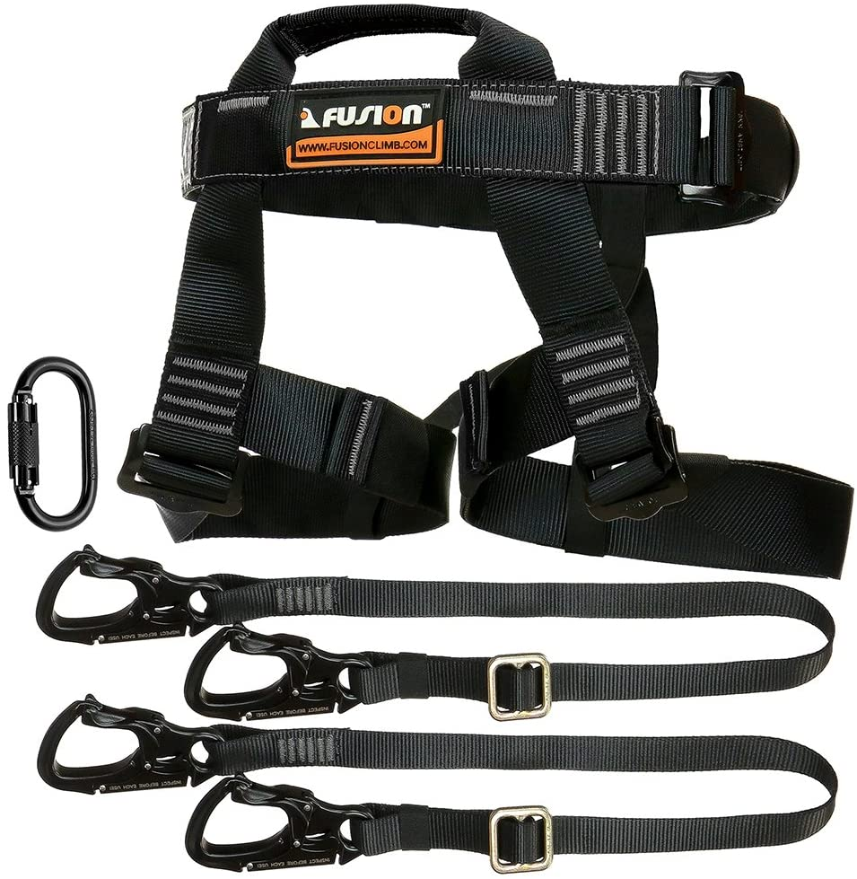 Fusion Climb Tactical Edition Adults Commercial Zip Line Kit Harness/Dual Lanyard/Carabiner Bundle FTK-A-HLLC-02