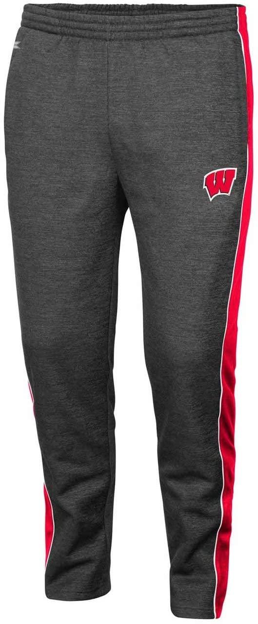 Colosseum Wisconsin Badgers Adult NCAA Luge Fleece Pants - Charcoal